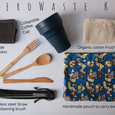 zero waste travel kit reusable no plastic with collapsible coffee cup